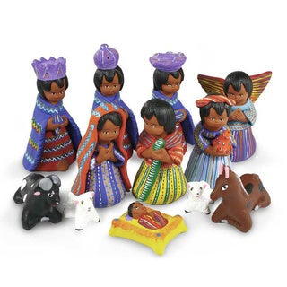 Set of 12 Ceramic 'Chichicastenango' Nativity Scene (Guatemala)