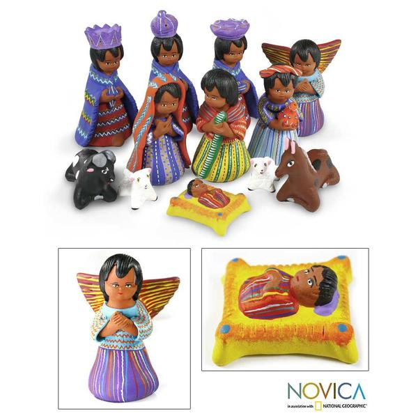 Handmade Set of 12 Ceramic 'Chichicastenango' Nativity Scene (Guatemala)