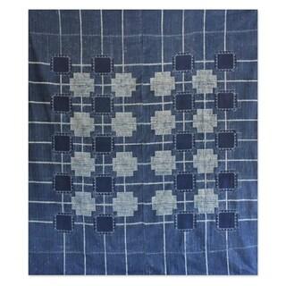 Handmade Batik Cotton 'Indigo Cross' Bedspread (Thailand)