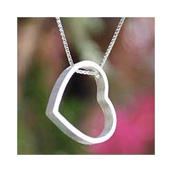 Sterling Silver 'Modern Heart' Necklace (Thailand)