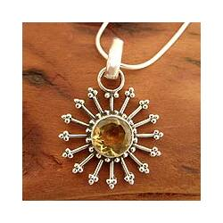 Sunshine Daze Faceted 2 Carat Yellow Citrine Sunburst 925 Sterling Silver with Snake Chain Womens Pendant Necklace (India)|https://ak1.ostkcdn.com/images/products/6387171/Sterling-Silver-Sunshine-Daze-Citrine-Necklace-India-P14000347c.jpg?impolicy=medium