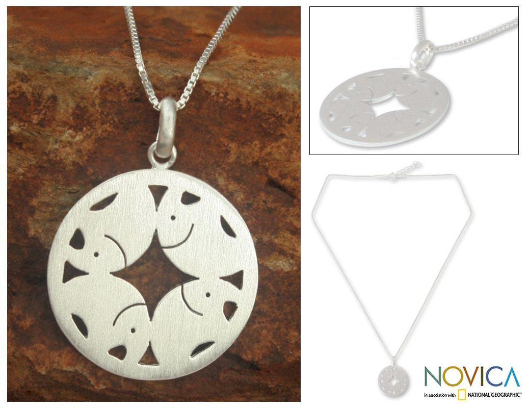 Sterling Silver 'Elephant Moon' Necklace (Thailand)