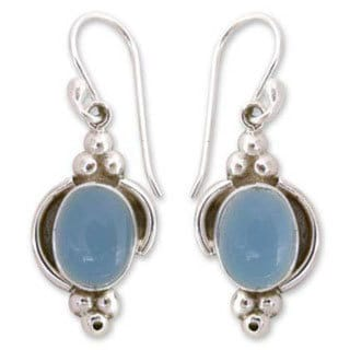 Handmade Sterling Silver 'Sky Charm' Chalcedony Dangle Earrings (India). Opens flyout.