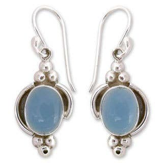 Handmade Sterling Silver 'Sky Charm' Chalcedony Dangle Earrings (India)