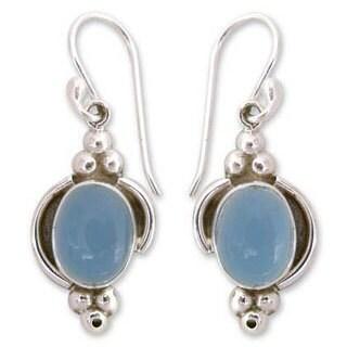 Handmade Sterling Silver 'Sky Charm' Chalcedony Dangle Earrings (India)