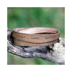 Handcrafted Leather 'Live Fully in Brown' Bracelet (Indonesia)