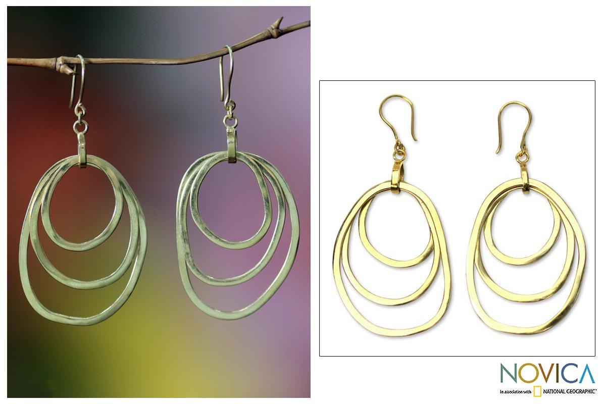 18 Karat Gold Overlay 'Hypnotic Shields' Earrings (Indonesia)