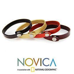 Leather 'Imagine Explore Create' Set of 4 Bracelets (Indonesia) - Thumbnail 1