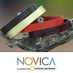 Leather 'Imagine Explore Create' Set of 4 Bracelets (Indonesia) - Thumbnail 2