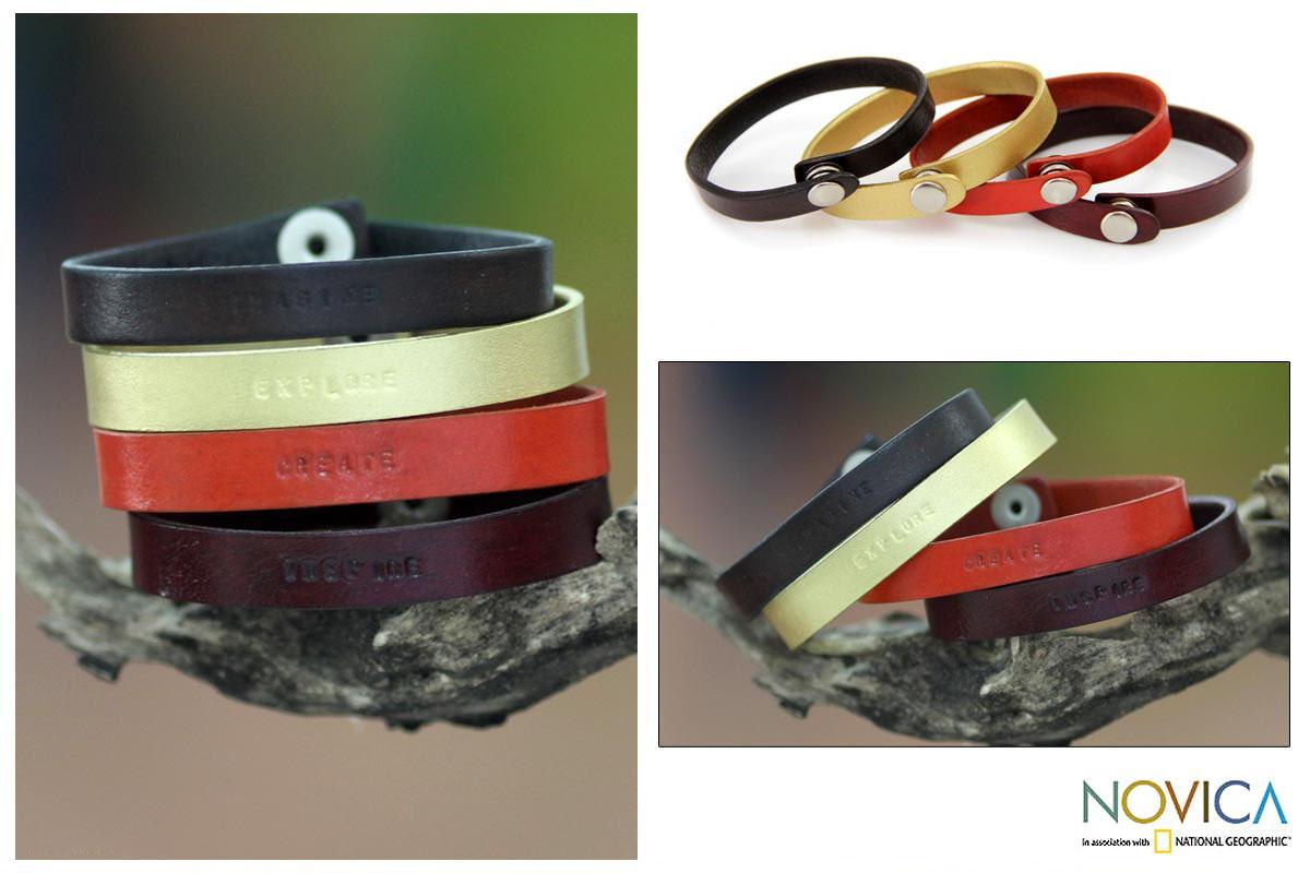 Leather 'Imagine Explore Create' Set of 4 Bracelets (Indonesia)