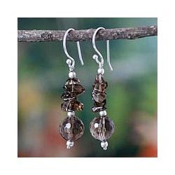 Handmade Sterling Silver 'Mumbai Mist' Smoky Quartz Dangle Earrings (India)