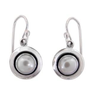 Link to Handmade Sterling Silver Jaipur Magic Moon Pearl Dangling Style Earrings (7 mm) (India) Similar Items in Earrings