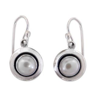 Handmade Sterling Silver Jaipur Magic Moon Pearl Dangling Style Earrings (7 mm) (India) https://ak1.ostkcdn.com/images/products/6387192/P14000366.jpg?impolicy=medium