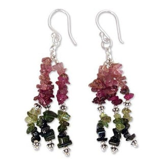 Handmade Sterling Silver 'Rejoice' Tourmaline Waterfall Earrings (India)