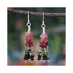 Sterling Silver 'Rejoice' Tourmaline Waterfall Earrings (India)
