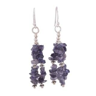 Handmade Sterling Silver 'Rejoice' Iolite Waterfall Earrings (India)