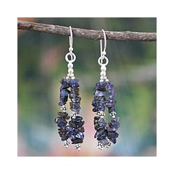 Sterling Silver 'Rejoice' Iolite Waterfall Earrings (India)