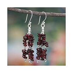 Sterling Silver 'Rejoice' Garnet Waterfall Earrings (India)
