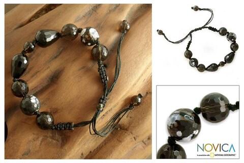 Handmade Smoky Quartz 'Indian Night' Onyx Beaded Bracelet (India)