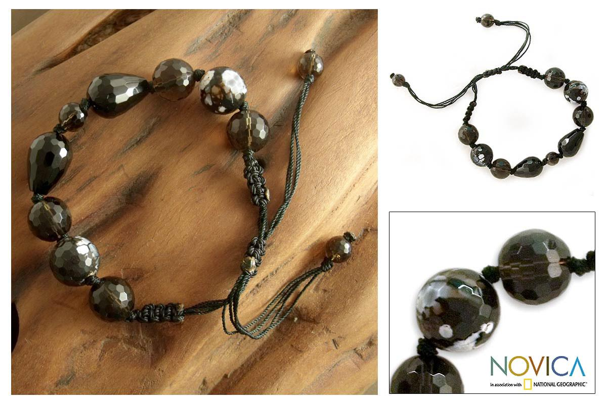 Smoky Quartz 'Indian Night' Onyx Beaded Bracelet (India)