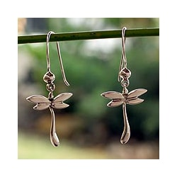 Sterling Silver 'Dragonfly Mystery' Dangle Earrings (Mexico)
