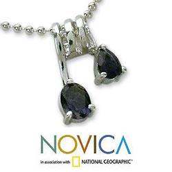 Sterling Silver 'Hypnotic Fantasy' Iolite Necklace (India) - Thumbnail 2