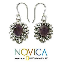 Sterling Silver 'Fire Goddess' Amethyst Dangle Earrings (India)