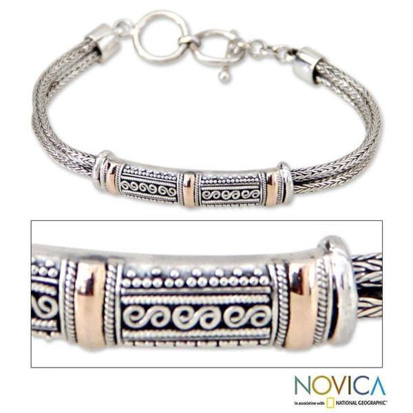 Handmade 18 Karat Gold Accent Sterling Silver 'Wishes' Bracelet (Indonesia)