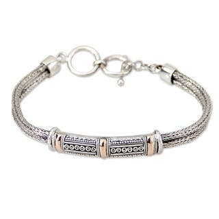 Handmade 18 Karat Gold Accent Sterling Silver 'Wishes' Bracelet (Indonesia)|https://ak1.ostkcdn.com/images/products/6387210/P14000383.jpg?impolicy=medium