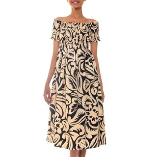 Handmade Cotton Batik 'Bali Shadows' Dress (Indonesia)