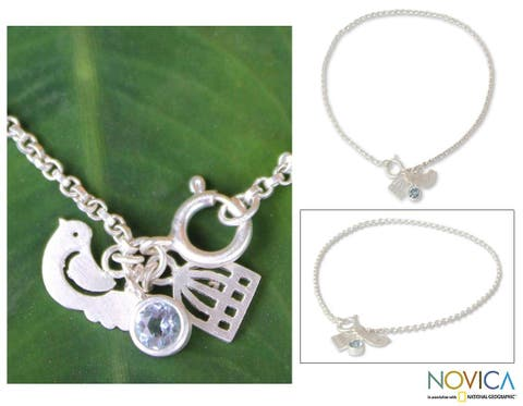 Handmade Sterling Silver 'Doves of Peace' Blue Topaz Charm Bracelet (Thailand)