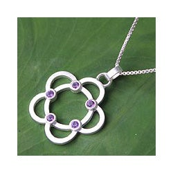 Sterling Silver 'Blossoming Glamour' Amethyst Necklace (Thailand)