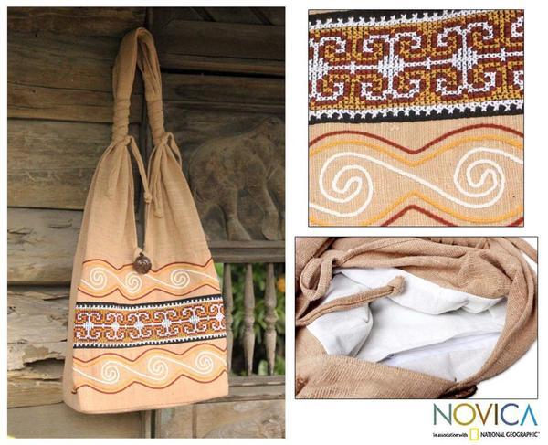 Cotton 'Lanna Greatness' Medium Sling Bag (Thailand)