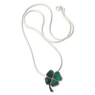 Handmade Silver 'Good Luck Clover' Chrysocolla Necklace (Peru)