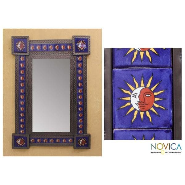 Handmade Tin and Ceramic 'Maya Eclipse'Large Wall Mirror (Mexico)