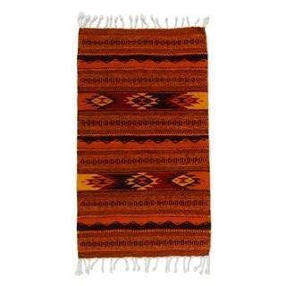 Handmade Meteors Zapotec Wool Rug (Mexico) - 3'3 x 2'