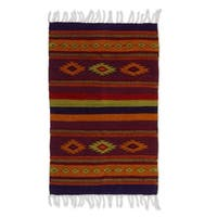 Handmade Zapotec 'Festival' Wool Rug (2 x 3.4 inches) (Mexico) - 3'3 x 2'