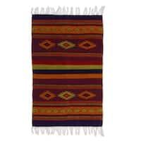 Handmade Zapotec 'Festival' Wool Rug (Mexico) - 3'3 x 2'
