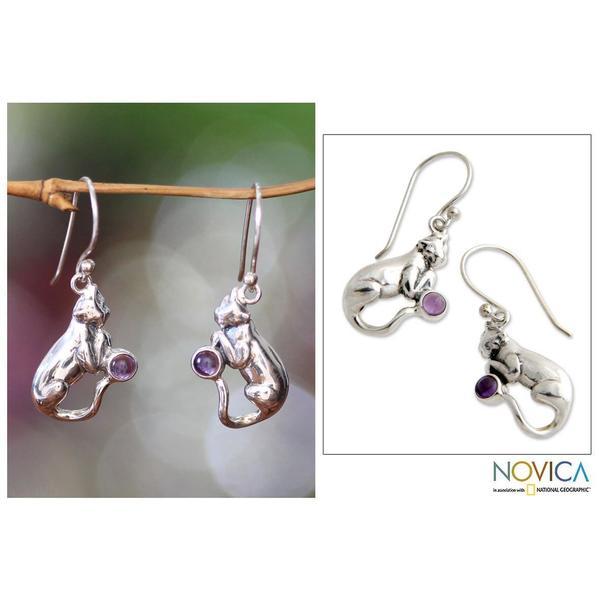 Handmade Sterling Silver 'Dreams of a Cat' Amethyst Earrings (Indonesia)