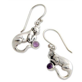 Handmade Sterling Silver 'Dreams of a Cat' Amethyst Earrings (Indonesia)