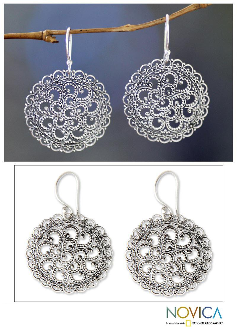 Handmade Sterling Silver 'Filigree Chrysanthemum' Earrings (Indonesia)