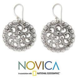 Handmade Sterling Silver 'Filigree Chrysanthemum' Earrings (Indonesia) - Thumbnail 1