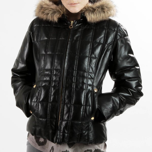 a0f91bec1 Shop United Face Womens New Black Leather Faux Fur Hooded Down Parka ...