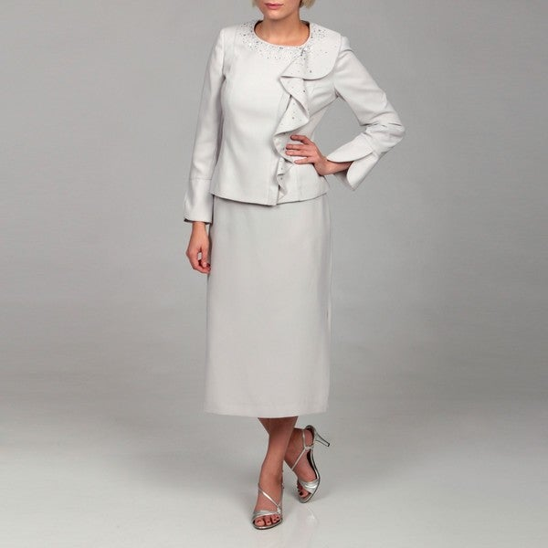 John Meyer Women's Pearl Jeweled Skirt Suit