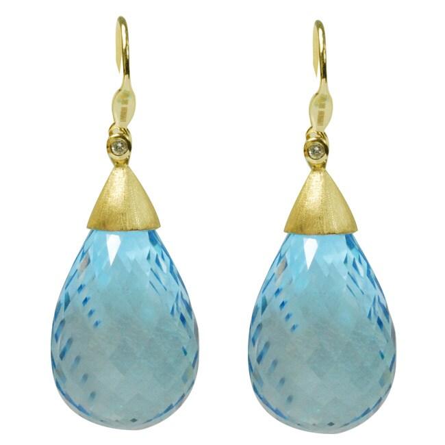 De Buman 18k Yellow Gold Sky Blue Topaz and Diamond Earrings