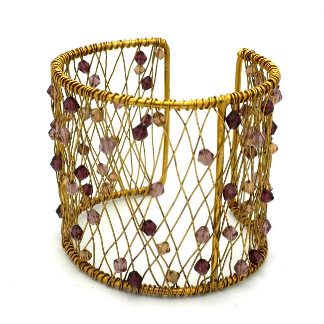 Purple Glass Bead and Brass Wire Mesh Cuff (India)
