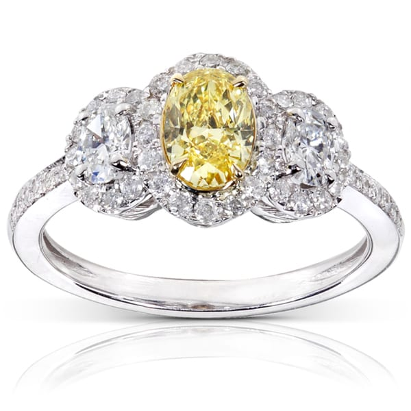 Annello by Kobelli 14k Gold 1 1/3ct TDW Certified Yellow and White Diamond Ring (FY, VS1)