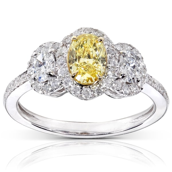 Annello by Kobelli 14k White Gold 1 1/3ct TDW Certified Oval Yellow and White Diamond 3 Stone Halo Vintage Ring (FY, VS1)