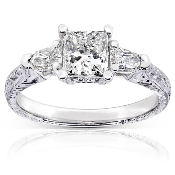 Annello by Kobelli 14k White Gold 1 1/3ct TDW Certified Diamond Engagement Ring (H-I, SI2