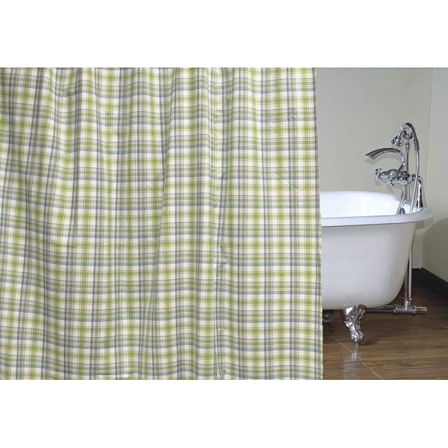 cottage home 72 inch blue green plaid shower curtain free shipping